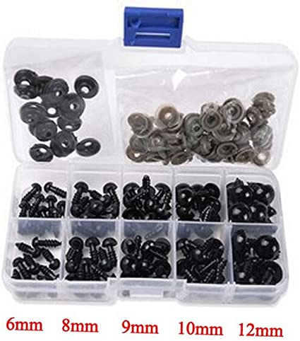 TOPWEL 100PCS Brown Plastic Safety Eyes for Sewing Crafting Buttons for Bear Doll of DIY 10MM