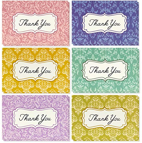 Thank You Cards Bulk - 48-Pack Thank You Cards, 6 Damask Floral Designs, Thank You Notes, Envelopes Included, 4 x 6 Inches