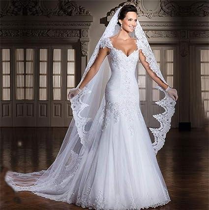 Voile Mariée Voile Long Mariage Bijoux de cheveux Cathédrale dentelle 2 m TULLE