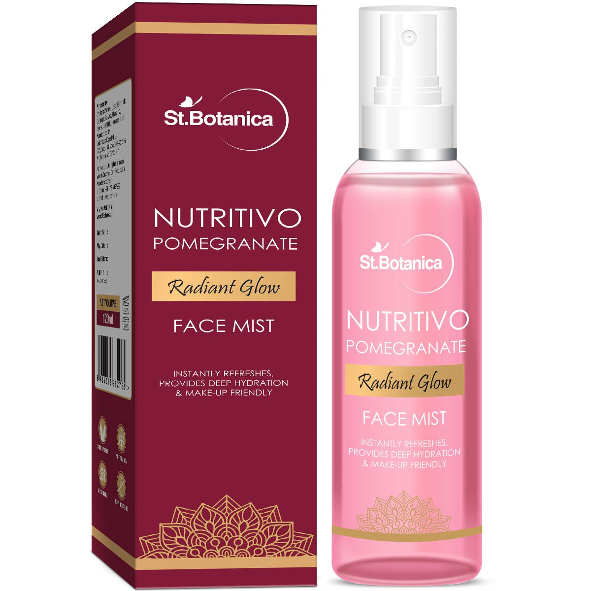 StBotanica NUTRITIVO Pomegranate Radiant Glow Face Mist, 120ml - Instantly Refreshes, Provides Deep Hydration & Makeup Friendly, No Parabens, Silicones product image
