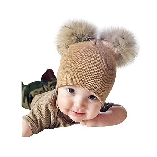 a31a5458647 Spiritlele Lovely Winter Beanie 2 Pompom Ball Knit Hat Fur Fluffy Warm  Skull Cap for Little