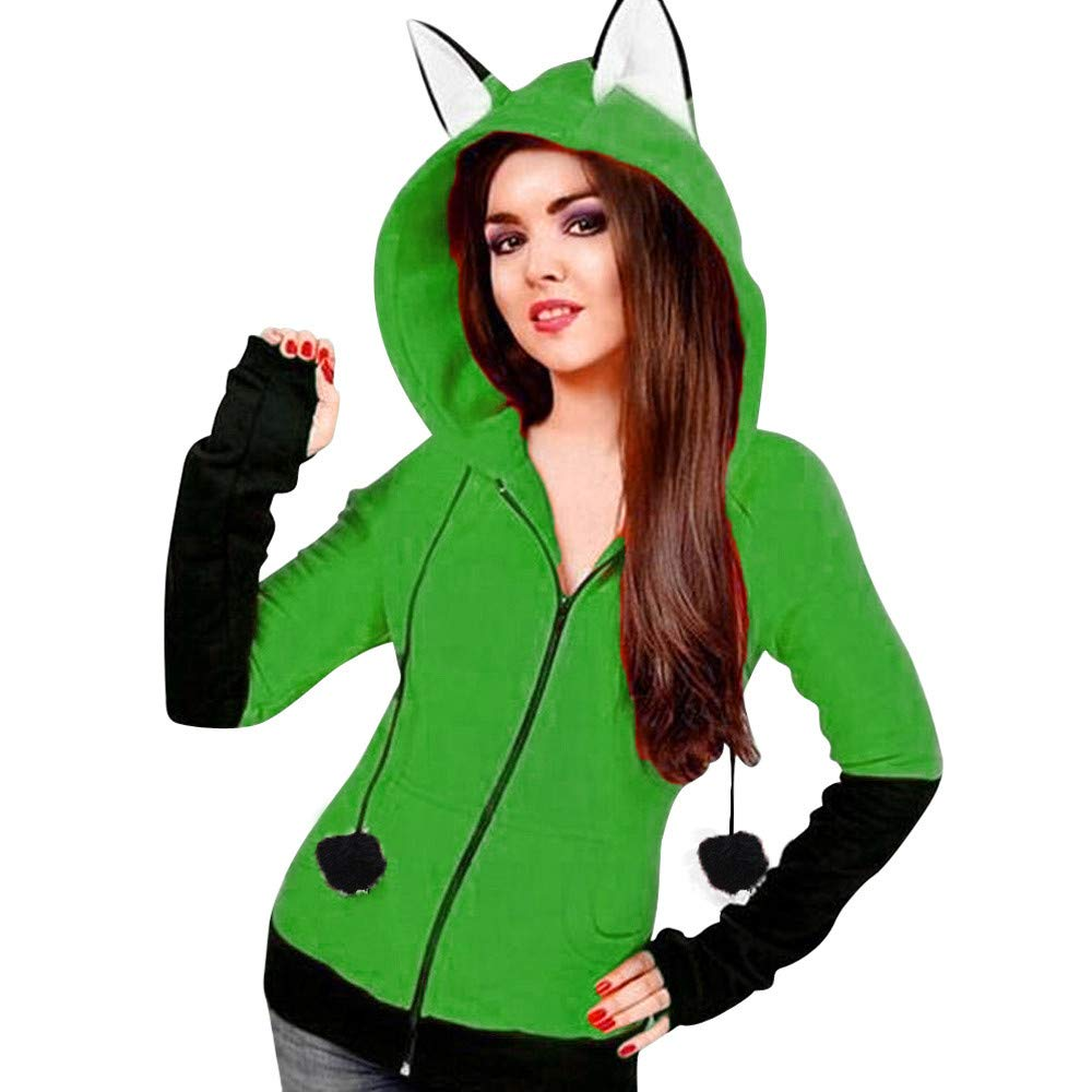 Ankola Hooded Sweatshirts Fox Ears Cartoon Hoodie Jacket Halloween Cosplay Sweatshirt Cute Animal Costume Coat (XXXL, Green)