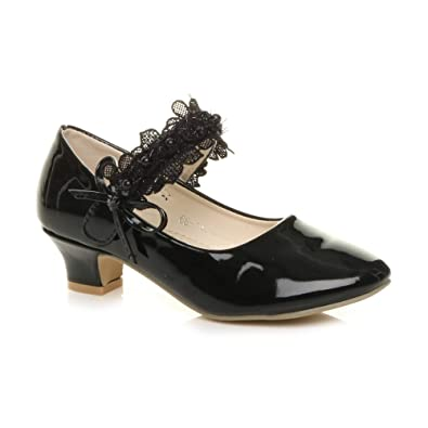 540b044db2db Ajvani Girls Kids Childrens Low Heel lace Strap Mary Jane Party Formal  Shoes Size 1