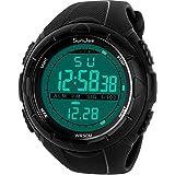 SunJas - Reloj de pulsera deportivo digital para hombre, resistente al agua (5ATM), LCD, con cronómetro, cronógrafo, fecha y alarma, de goma