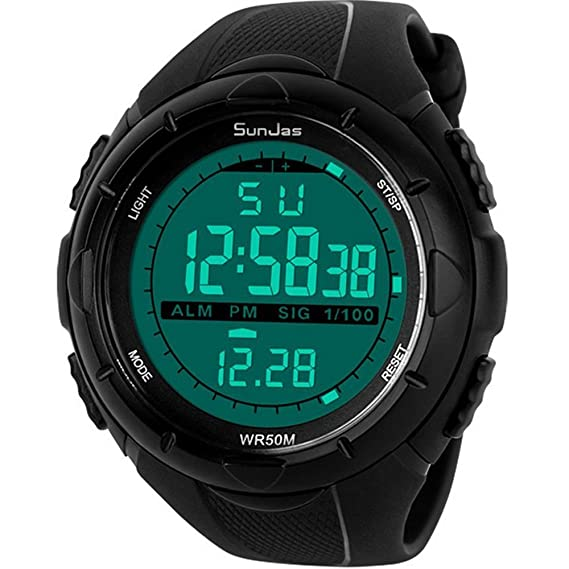 e7afd66aaa69 SunJas - Reloj de Pulsera Deportivo Digital para Hombre