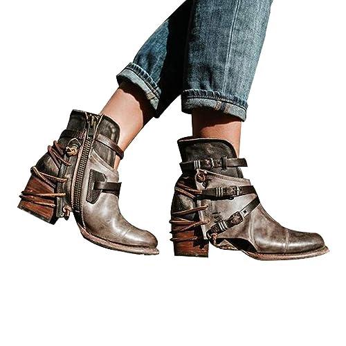Señoras De La Vendimia Gruesos Tacones Altos Cremallera Botines Cortos Casual Hebilla Zapatos (Negro Caqui