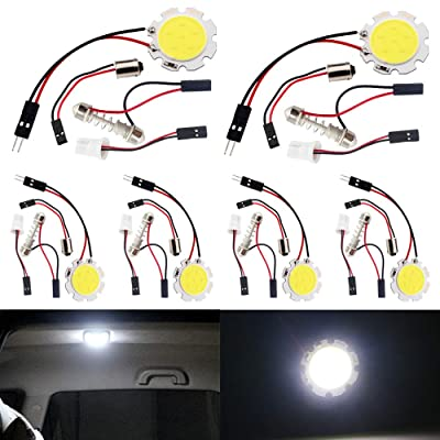 EverBrightt 6-Pack Cool White COB 6-SMD Led Panel Dome Light Auto Car Reading Map Light Bulb DC 12V with T10 / BA9S / Festoon Adapters: Automotive [5Bkhe1509226]