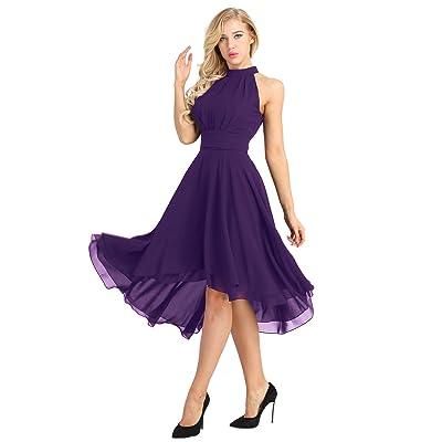 ACSUSS Women's Sleeveless Halter Neck Bridesmaid Dress High Low Evening Prom Flare Dresses: Clothing