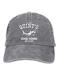 rouqianshangmao Cotton Jeans Cap Old-Fashion Adjustable Hat Quints Shark Fishing Jaws 7 Colors Available