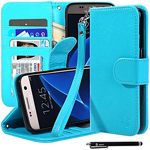 S7 Case, Galaxy S7 Case, Style4U Premium PU Leather Stand Wallet Case with ID Credit Card / Cash Slots for Samsung Galaxy S7 with 1 Stylus [Blue] Sales
