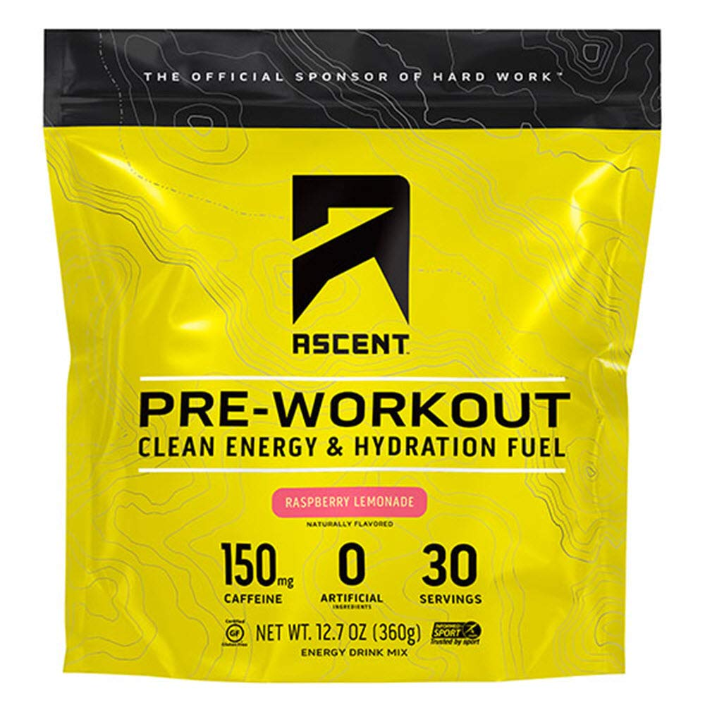 Ascent Pre Workout - Raspberry Lemonade (Tart) - New and Improved Taste - 30 Servings by Ascent