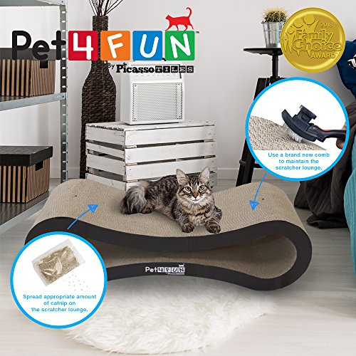 Pet4Fun® PF360 4 in1 Reversible Durable Stylish Cat Scratcher Lounge w/ large space and special teaser holder for scratching, playing, resting, and napping. Teaser, Comb, & Catnip Included by Picasso Tiles by PicassoTiles (Image #2)