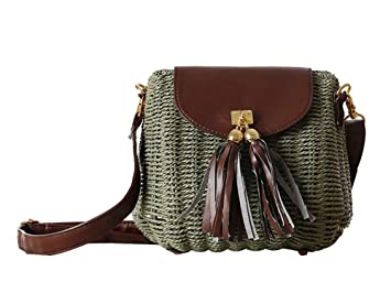 7708555e16b3 Image Unavailable. Image not available for. Colour  FAIRYSAN Women Mini Cute  Straw Beach Handbag Woven Shoulder Tote Cross Body Bag Green