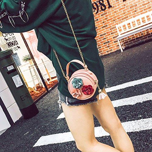 Tinksky Frauen-runder Crossbody Beutel-Blumen-Kurier-Beutel Mini-PU-lederner Schulter-Beutel für Frauen-Mädchen (Rosa)