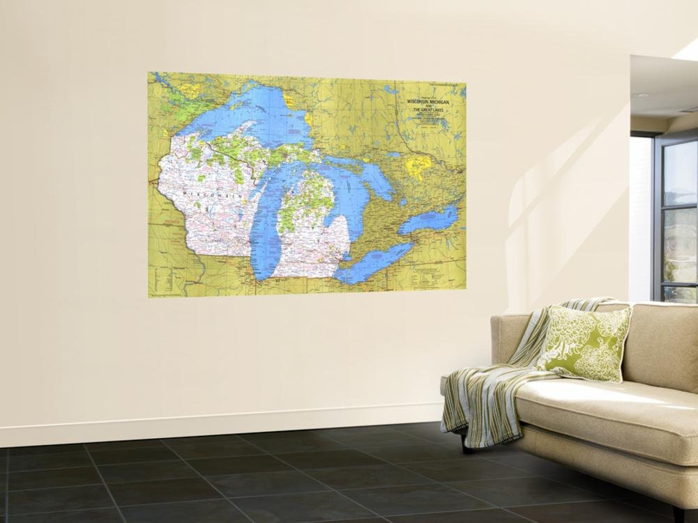 1973 Close-up USA, Wisconsin, Michigan, and the Great Lakes Map Wall Mural by National Geographic Maps 48 x 72in