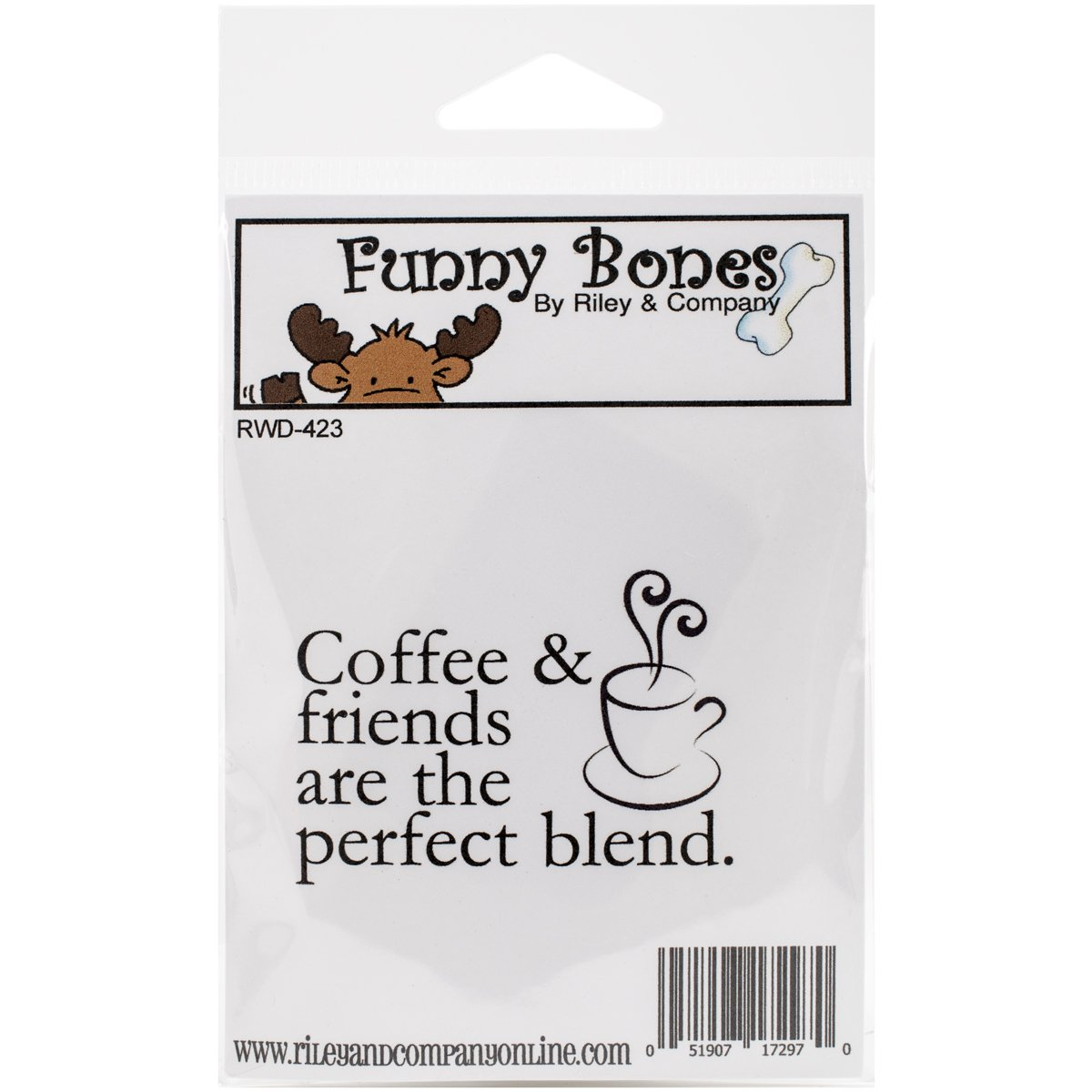 Coffee /& Friends 2.25 by 1.75 Riley /& Company Funny Bones Cling Mounted Stamp