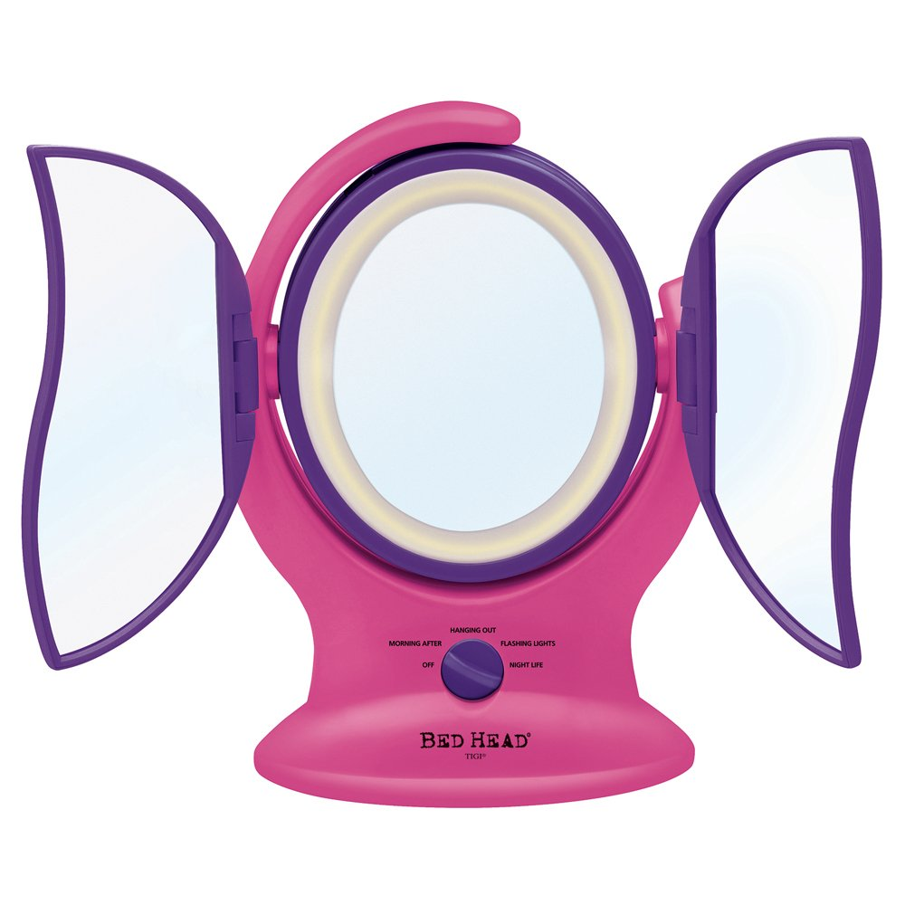Bed Head 3 Panel Lighted Mirror, Pink and Purple, 4 Ounce
