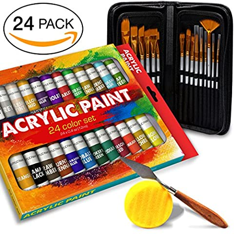 Complete Acrylic Paint Set – 24х Rich Pigment Colors – 15x Art Brushes with Bonus Paint Art Knife & Sponge – for Painting Canvas, Clay, Ceramic & Crafts, Non-Toxic & Quick Dry – for Kids & (Acrylic Paint Beginner)