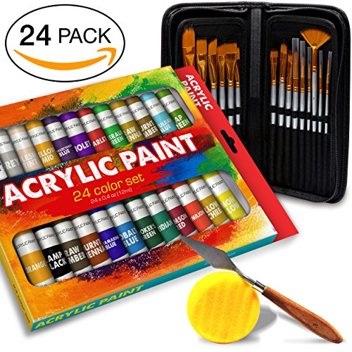 Complete Acrylic Paint Set  24 Rich Pigment Colors  12x Art Brushes with Bonus Paint Art Knife & Sponge  for Painting Canvas, Clay, Ceramic & Crafts, Non-Toxic & Quick Dry  for Kids & Adults