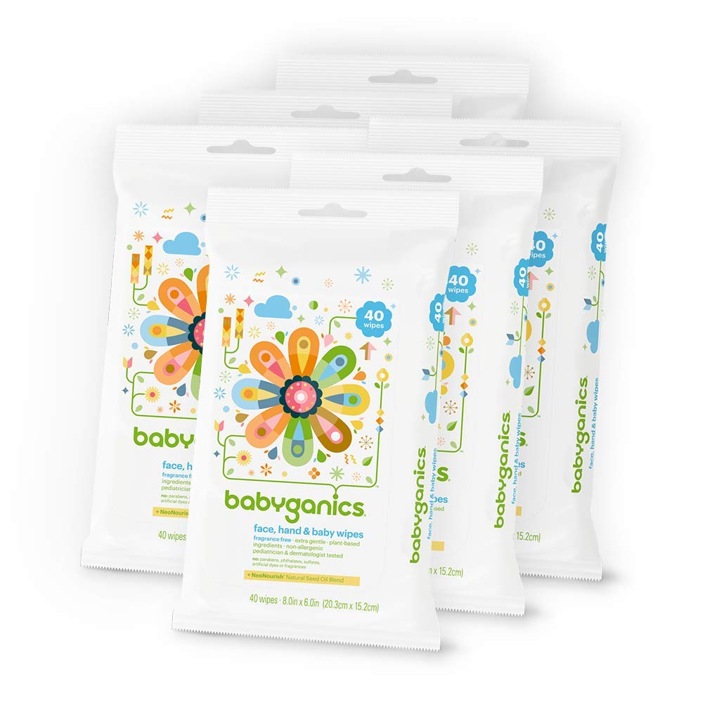 Babyganics Face, Hand & Baby Wipes, Fragrance Free, 240 Count (Contains Six 40-Count Packs) by Babyganics