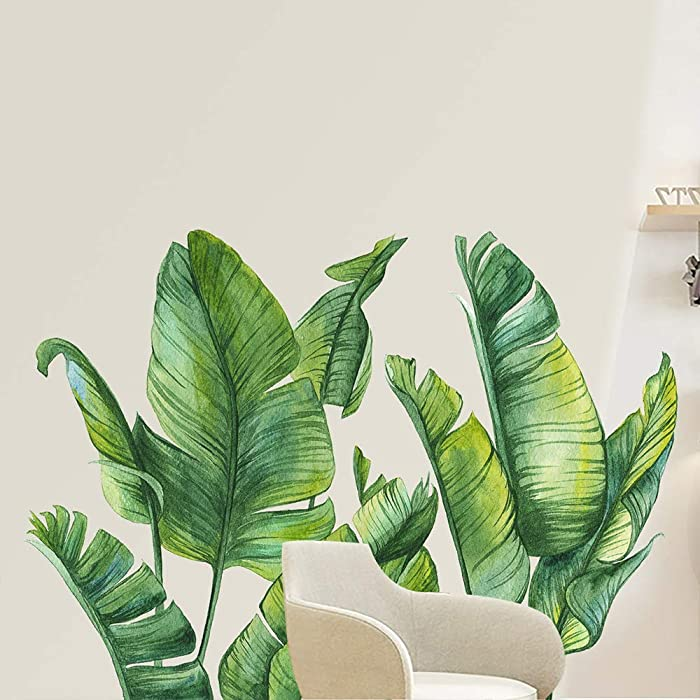 NA Green Plants Wall Stickers, Removable PVC Fresh Leaves Stick Wall Decals, Creative Murals Paper for Decor Girls Boys Kids Nursery Baby Home Living Room Bedroom Kitchen (33.4 x 21.6 inch)