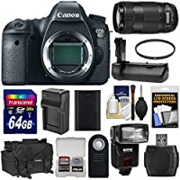 Canon EOS 6D Digital SLR Camera Body with EF 70-300mm IS II USM Lens + 64GB Card + Battery + Charger + Case + Flash + Grip + Kit