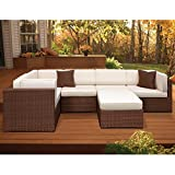 International Home Miami Atlantic 6 Piece Patio Sectional Set In Off White