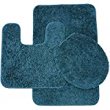 Bathroom Rug Sets Blue Sweet Home Collection 3 Piece Shag Bathroom Rug set Mixed Blue Bath Mat, Contour & Seat Cover,,Mixed Blue
