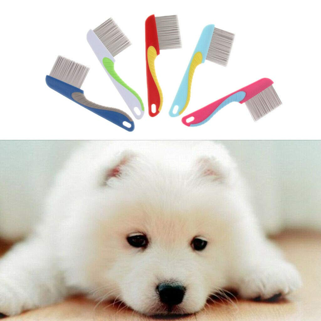 Agordo 5Pcs Plastic Pet Dog Hair Flea Comb Stainless Pin Dog Cat Grooming Lice Comb by Agordo (Image #2)