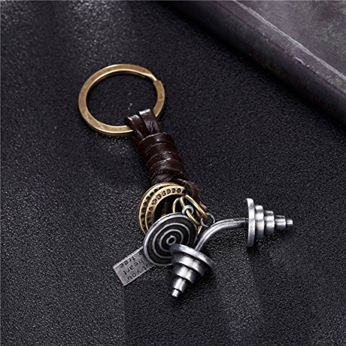 1 Pc Mini Pocket Dumbbells Vintage Leather Keychain Keyring Keyfob Sports Gym Pendant Key Chain Ring Fob Tag Holder Finder Necklace Paramount Popular Cute Wristlet Utility Keychains Tool, - 02 Shop Finder