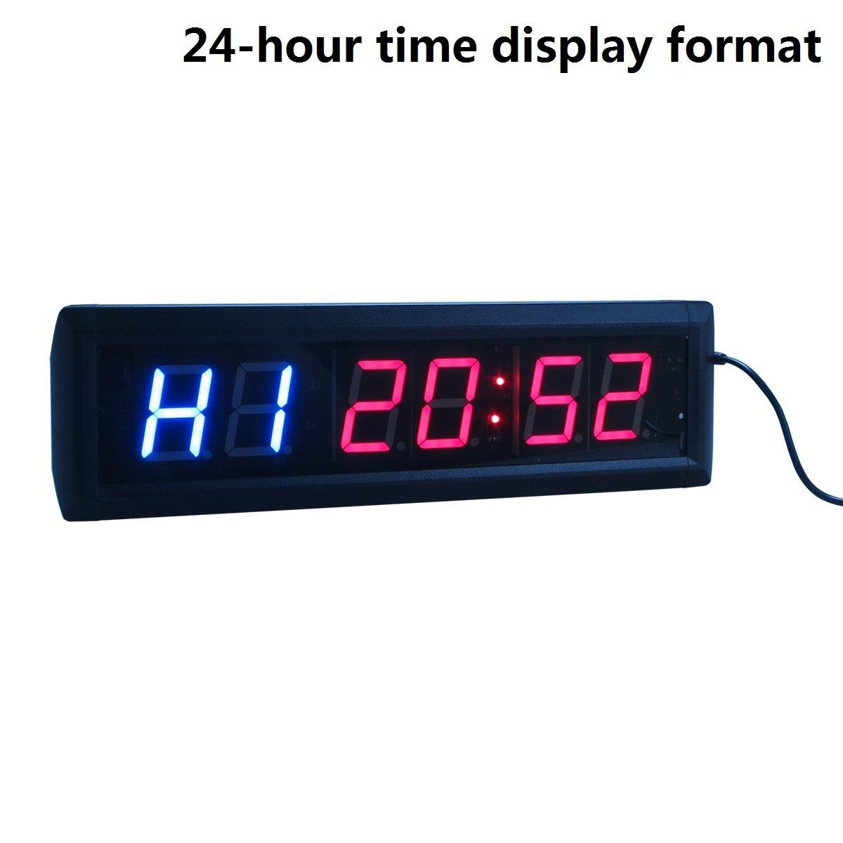 Reloj de pared cronómetro con temporizador de intervalos de Ledgital crossfit con mando a distancia por infrarrojos (35,6 x 10,2 x 3,8 cm), enchufe estándar ...