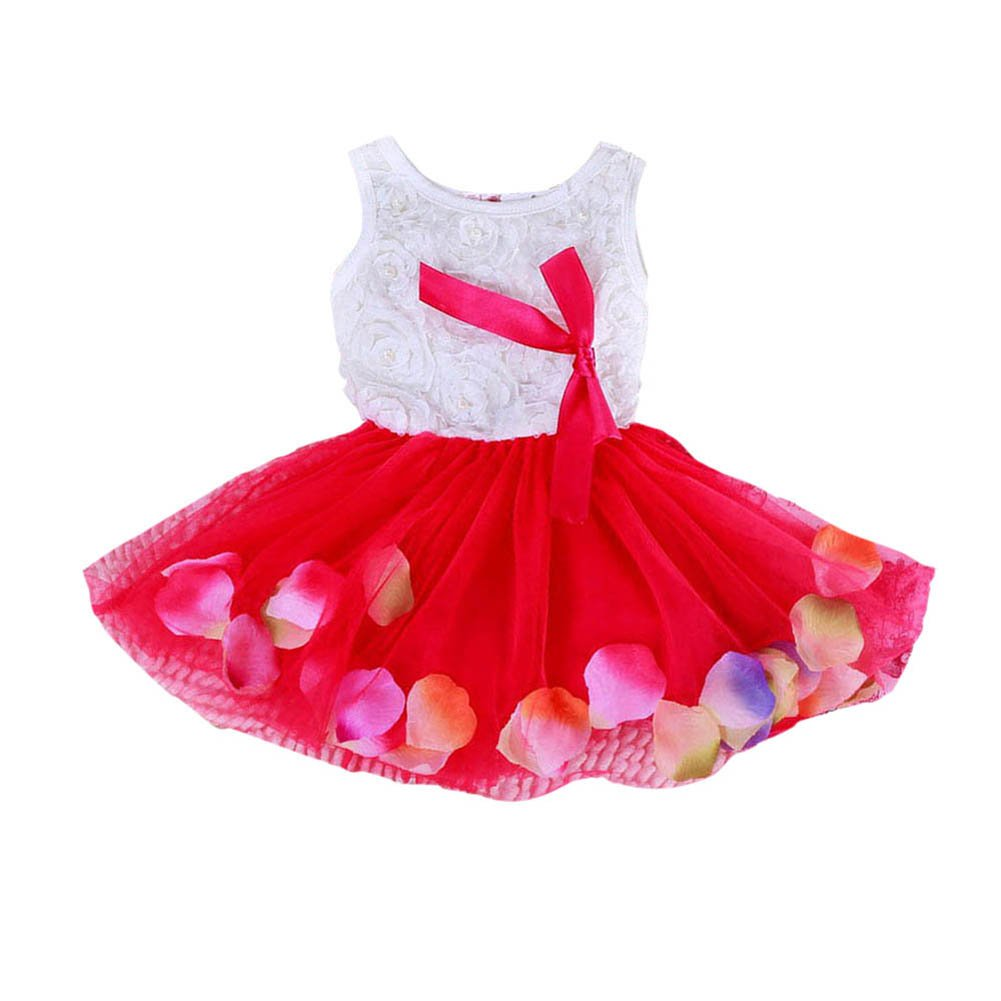 BOBORA Baby Girls Sweet Princess Tutu Dress Lace Bow Flower Vest Tulle Skirt Mini Dress BO-N-41