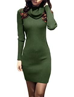 ef21a2c2444 v28 Women Cowl Neck Knit Stretchable Elasticity Long Sleeve Slim Fit Sweater  Dress