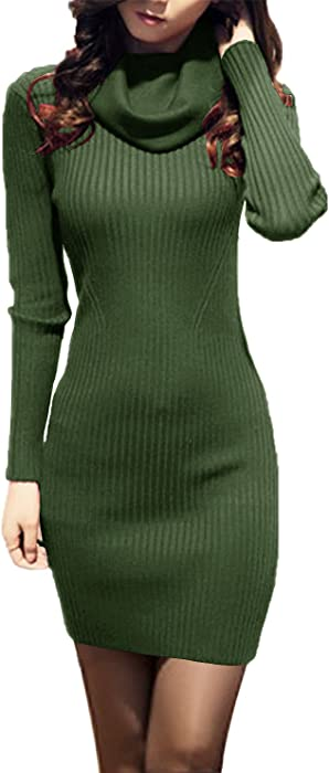 v28 Women Cowl Neck Knit Stretchable Elasticity Long Sleeve Slim Fit Sweater  Dress (2X- bfdfe138e2