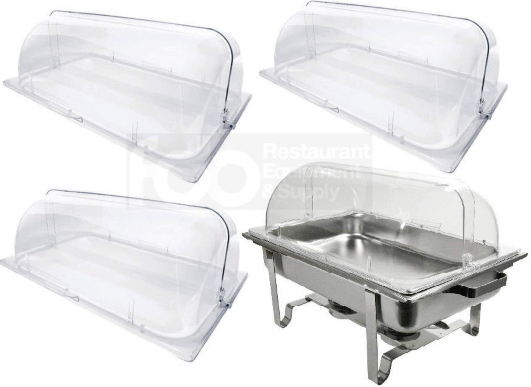4 PACK Full Size Roll Top Chafing Dish Clear Plastic Pan Display Cover Chafer by lowpricesupply