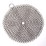 4ucycling Cast Iron Skillet Cookware Scrubber Effective Durable Premium Stainless Steel Metal Chainmail Pan Pot Clean Tool
