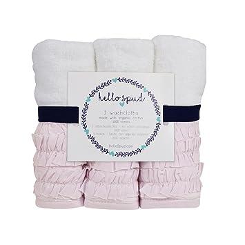 Amazon.com: Hello Spud - Petite Ruffle Pink Washcloth 3-Pack Organic Cotton: Baby