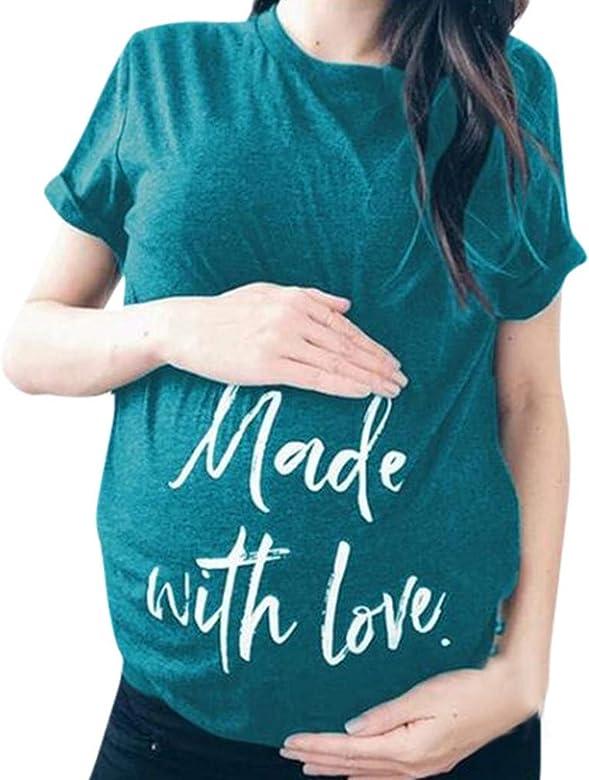 VECDY Ropa Premamá Embarazo Camisa, Verano Suave Elastico, Manga Corta, Maternidad Embarazada, Carta Impresa, Camisetas Casual Blusas Tops T-Shirt 2019 Oferta (Azul,S): Amazon.es: Ropa y accesorios