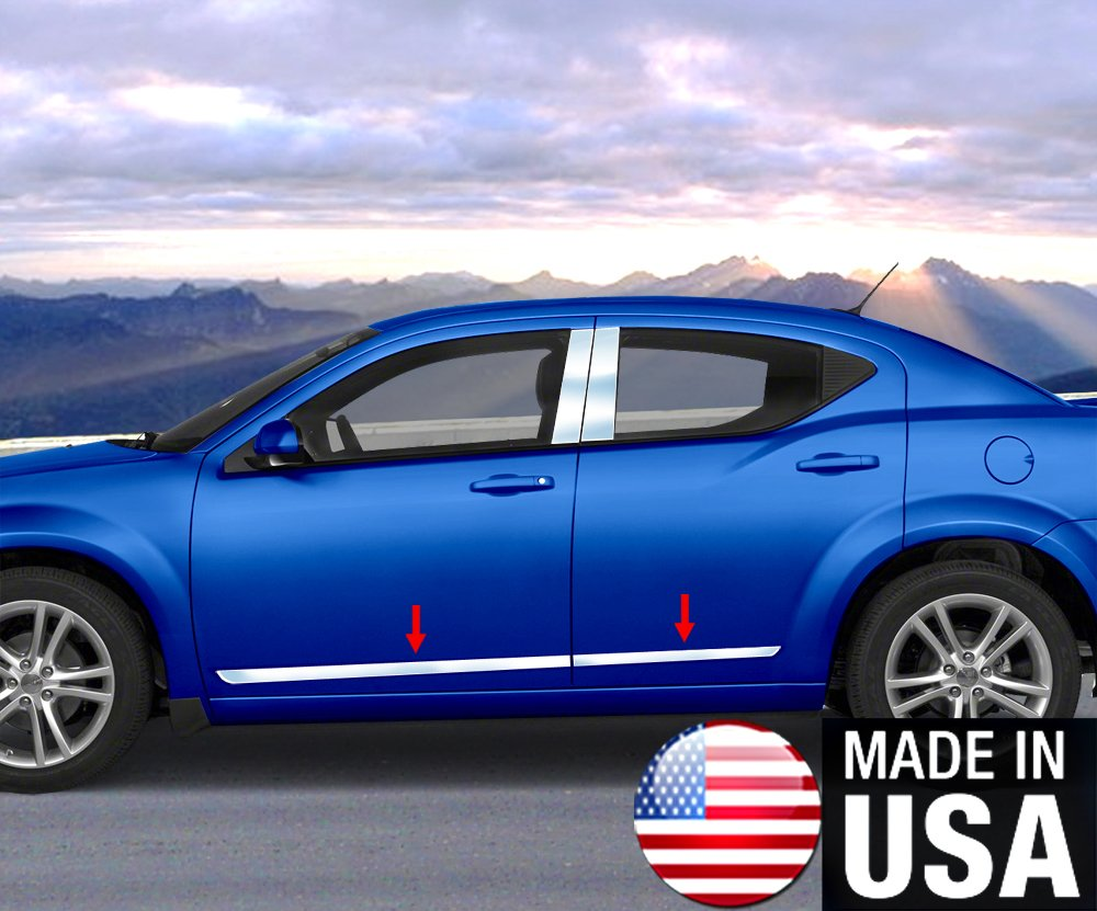 Works with 2008-2014 Dodge Avenger Accent Trim 1 Wide 4PC Body Side Moldings Trim Made in USA