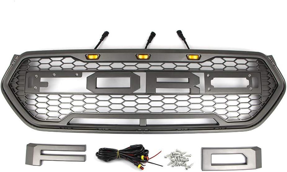 grille de raptor de style en nid dabeille en maille de sport avec 3 pi/èces LED pour Ford Escape Kuga 2017-2019 accessoires de voiture modifi/és Grille de course avant