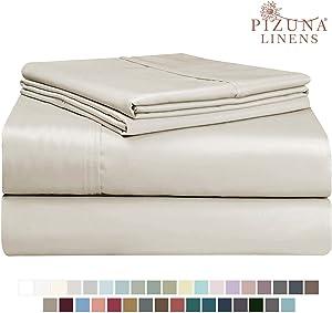 Pizuna 400 Thread Count Cotton Queen Size Sheets Set Beige, 100% Long Staple Cotton Sheets Set, Soft Sateen Best Cotton Bed Sheets Deep Pocket fit Upto 15 inch (100% Cotton Taupe Queen Sheet Set)