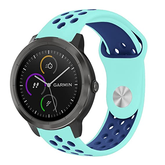 Lamshaw Smartwatch Bands for Garmin Vivomove HR,Sport Silicone Replacement Strap for Garmin Vivomove HR/Garmin Vivoactive 3 Band (Blue+Navy)