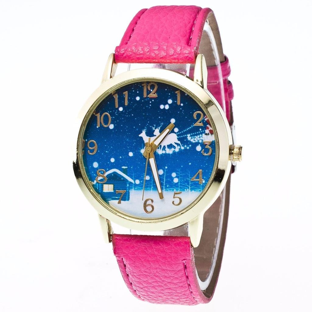 Lovely girls watch  xilaluキュートクリスマスヘラジカパターンアナログクォーツ時計の女性、クリスマスギフト ピンク  ホットピンク B075F3NDXD