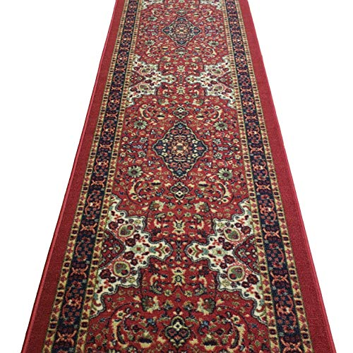 Runner Rug 3x10 Hallway Red Medallion Kitchen Rugs and mats | Rubber Backed Non Skid Living Room Bathroom Nursery Home Decor Under Door Entryway Floor Non Slip Washable | Made in Europe