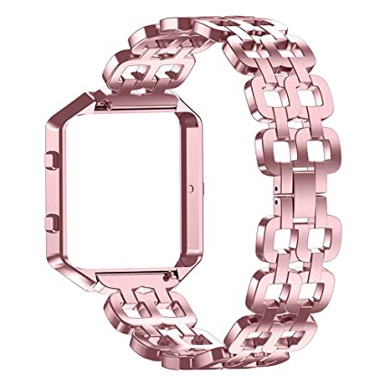 Gealpoor for Fitbit Blaze Bands, Stainless Steel Replacement Bands with Metal Frame for Fitbit Blaze Smartwatch