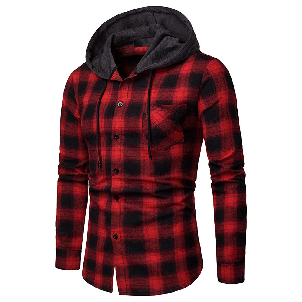 aliveGOT Mens Standard-fit Hooded Long-Sleeve Plaid Button-Down Check Shirt