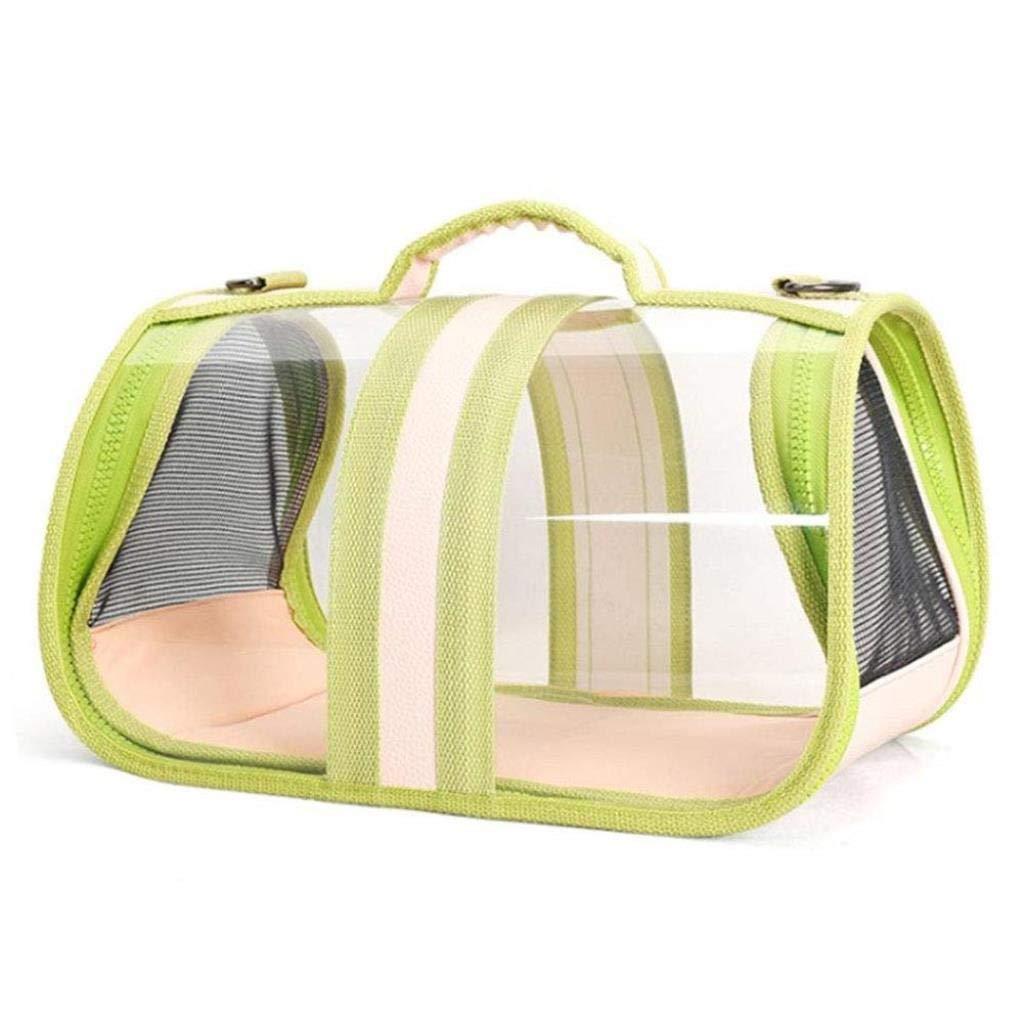 GREEN Pet Bag Outdoor Panoramic Transparent Cat Bag Pet Backpack Cat Dog Universal Out Convenient Travel Bag 43 x 23 x 24.5CM wuJIAN (color   Green)