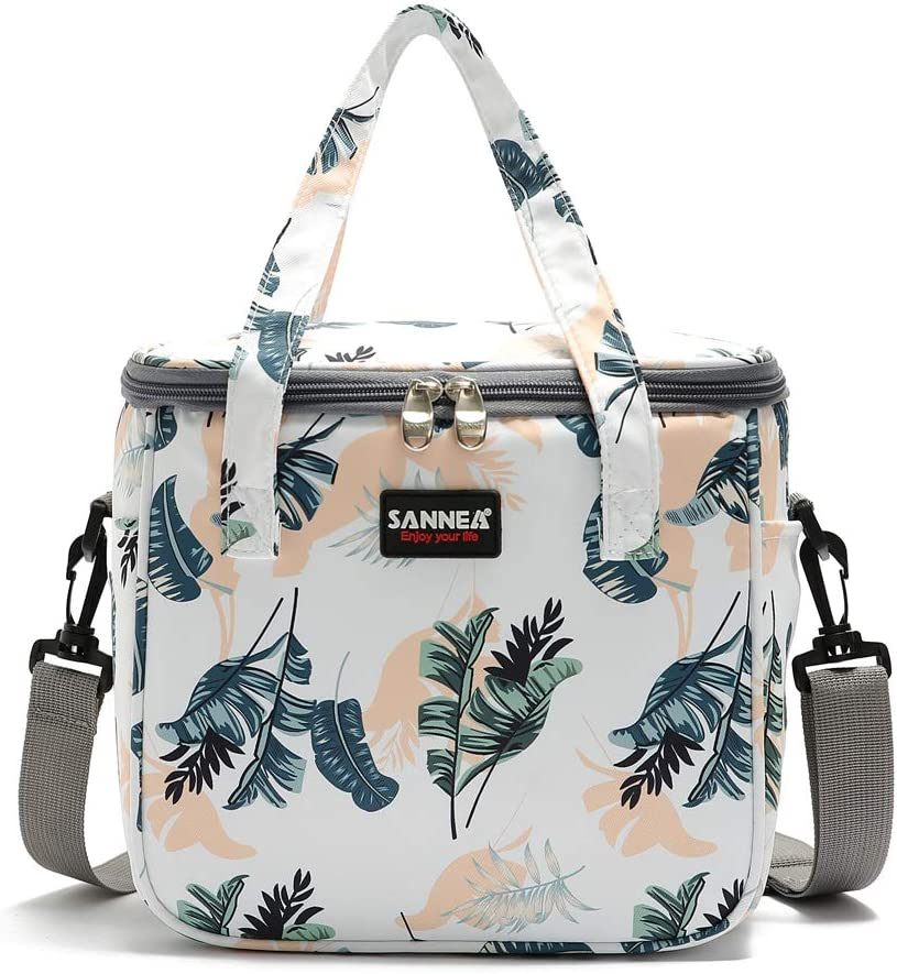 Reusable Insulated Thermal Lunch Bag Cute Lunch Box for Teens Boys Girls Adult Women Work School Outdoor Travel Picnic Beach BBQ party (Leaves)