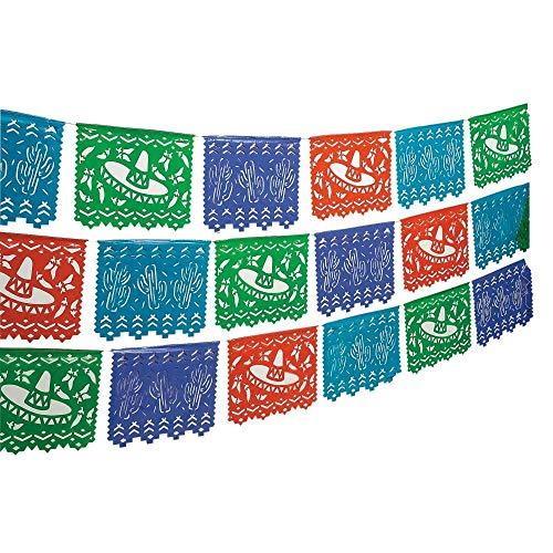 (Fun Express - Plastic Mexican Cutout Banner Plastic. (100 feet. x 10