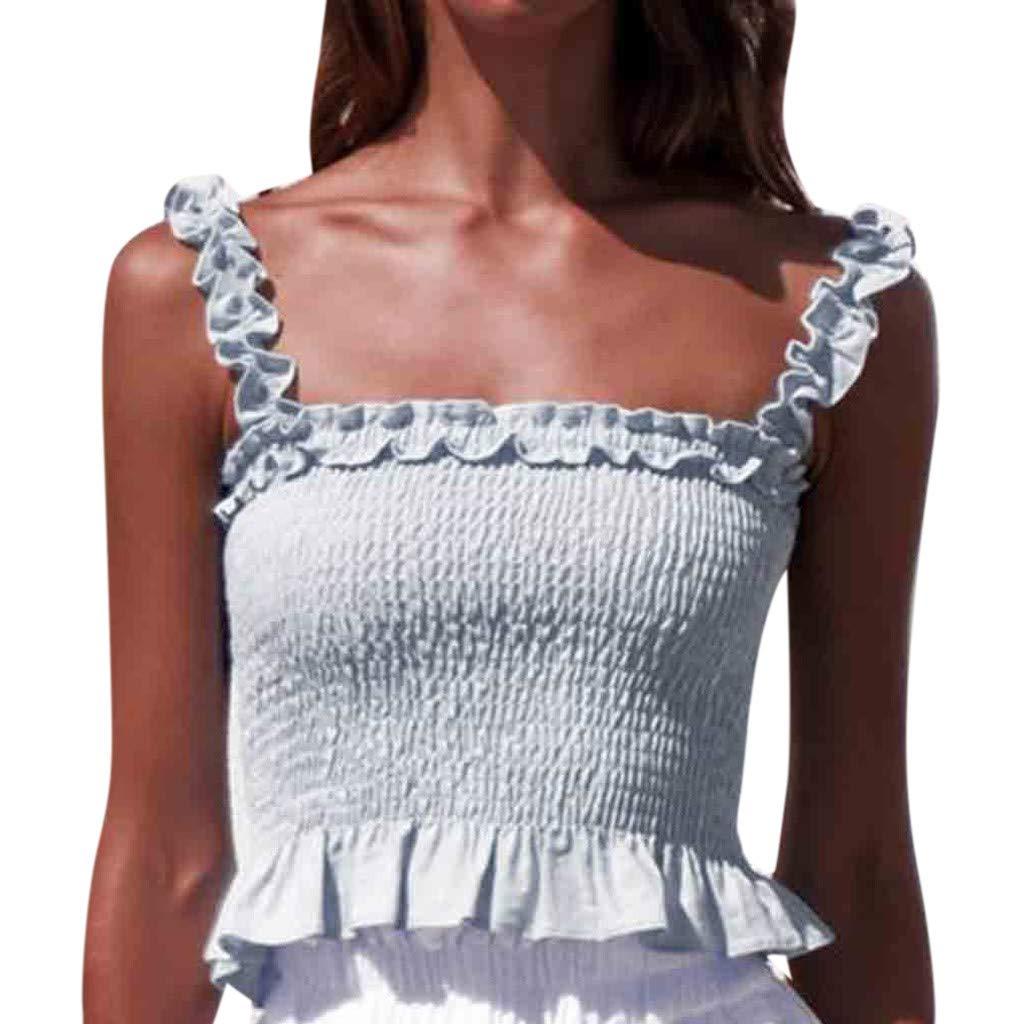 bfc4afd8078 Amazon.com: kanyankeji Women's Frill Smocked Crop Tank Top Tie Shoulder  Strap Smock Tank Top Chic Ruffle Hem Strap Vest Cami Top: Clothing